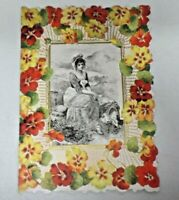 Vintage 1900s Die Cut Floral Embossed Valentine Greeting Card Victorian Lady