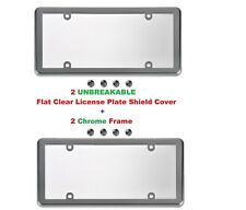 2 UNBREAKABLE Flat Clear License Plate Shield + 2 Chrome Frame for Cars & Trucks