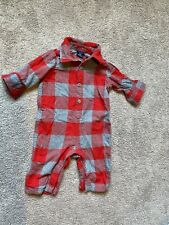 Baby Gap One-Piece Buffalo Plaid Button Flannel Jump Suit Red/grey Sz 3-6Months