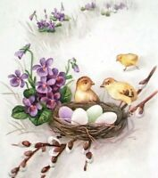 c1910 Stetcher Easter Postcard Embossed Greeting Baby Chicks and Eggs in a Nest