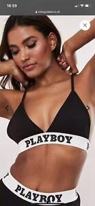 playboy x missguided black playboy taped triangle bra. Size Uk 18