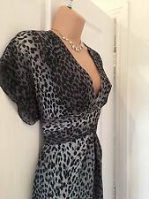 KAREN MILLEN  GREY/ANIMAL PRINT FIT & FLARE DRESS 10