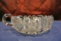 Vintage Round Clear Cut Glass Candy Relish Serving Dish w/ Handle
