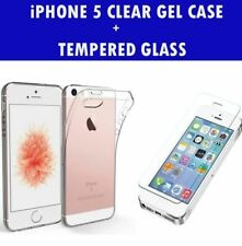For Apple iPhone 5/5S SE Clear Gel Case And Tempered Glass Screen Protector