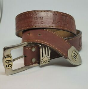 Vintage Retro Levis 501 Brown Leather Belt Small 95cm Embossed