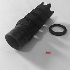 "5/8"" x 24 Pitch Thread .308 Carbon Steel Shark Muzzle Brake W/ Free Crush Washer"