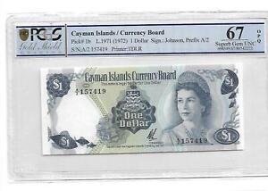 Cayman Islands/Currency Board Pick#1b 1971 1 Dollar PCGS 67 OPQ