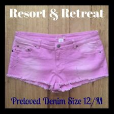Distressed Denim Festival Shorts, Preloved, Size 12, Medium, Pink