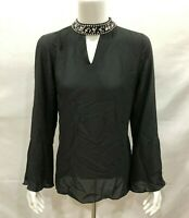Laurie Felt Women's Bell Sleeve Blouse w/ Jeweled Collar Black X-Small Size QVC