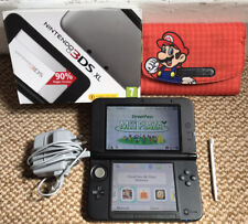 *Nintendo 3DS XL* Black & Silver Handheld Console with Super Mario Case & Box*