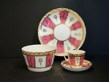 Pink Striped With Gold Embellishments China teacup and saucer dinner plate Set