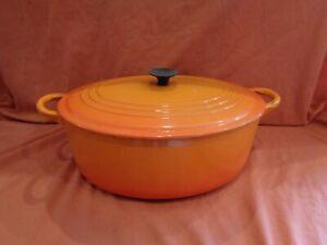 Le Creuset 29cm Oval Casserole Pan Volcanic Orange Cast Iron