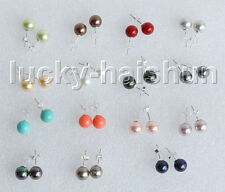 AAA Stud 8mm perfect round Multicolor south sea shell pearls Earrings j11363