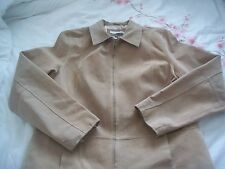 DOROTHY PERKINS Ladies TAN Natural SUEDE Leather Biker Short JACKET Uk 16 Beige