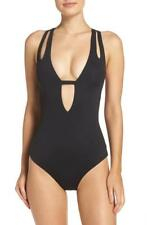 Becca Color Code Plunge One Piece Swimsuit M (8) Black
