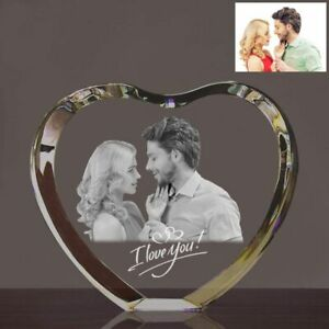 3D Laser Engraved Heart Crystal Photo Frame Personalized Wedding Anniversary