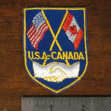 """NEW USA Canada Flags Unity Handshake 2.5"""" Sew-On Vintage Embroidered Cloth Patch"""