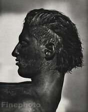 1986 Vintage 16x20 Surreal TONY WARD BLACK FACE Male Photo Gravure By HERB RITTS