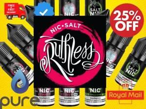 Ruthless Nic Salts 10mg 20mg 10ml x 1 x 3 x 5 E Liquid Vape Juice Ecig Oil