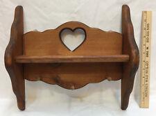 "Shelf Coat Rack Wooden Heart Cut Out Key Pegs Brown Wood Stain 13"" Long"