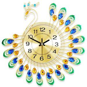 3D Decorative Wall Clock Crafts Gold Diamond Peacock Metal Clock Home Decoration