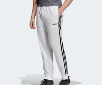 Adidas Track Pants Mens XL or 2XL New White Essential 3 Stripes Tapered Training