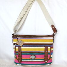 NEW FOSSIL MADDOX FAB TZ STRIPE CANVAS,LEATHER CROSSBODY,SHOULDER+HAND BAG,PURSE
