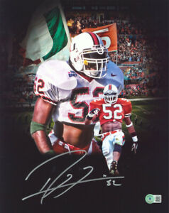 Miami Ray Lewis Authentic Signed 11x14 Custom Edit Photo BAS Witnessed