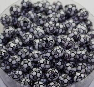 10 Perle Noir 10mm acrilique Ballon de foot, Football bijoux, Attache tetine...