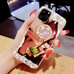 Fashion Diamond Ring Holder Mirror Case For iphone 11 Pro Max Samsung Note 10
