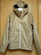 NEW Mountain Hardwear Waterproof Packable Rain Jacket Womens M Khaki Peach Print