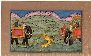 Miniature Painting Of Mughal Emperor Shah-Jahan Hunting Lion With Royal Friends