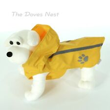 TOP PAW Outdoor SMALL YELLOW DOG RAINCOAT with HOOD Grey REFLECTIVE Stripe & Paw