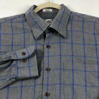 Peter Millar Men's Long Sleeve Button Up Shirt XL Gray Blue Windowpane Plaid