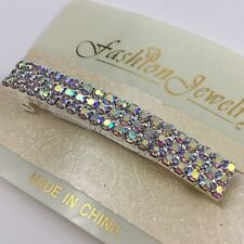 Aurora Borealis Rhinestone Hair Barrette Clip Bar Three Rows Elegant Prom Formal