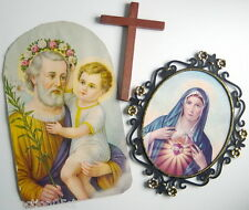 ONE LOT OF 2 LARGE RELIGIOUS PICTURES + 1 WOODEN CROSS