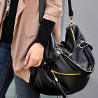 Korean Big Capacity Black Womens Shoulder Handbag PU Leather Bag Hobo Black