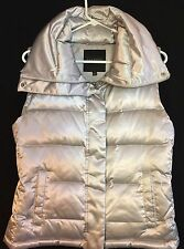Talbots ladies silver XS down high collar vest, poly/nylon, front zip/snap
