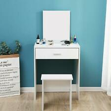 Vanity Dressing Table Make Up Desk w/ Stool Mirror Jewellery Storage Bedroom