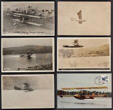 5 Vintage 1913-14 Postcards Of Glenn Curtiss Seaplane Flights, Hammondsport, Ny.