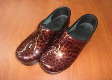 Dansko Professional Brown Tortoise Shell Patent Leather Clogs 38