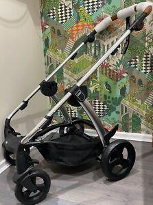 ⭐️ Mamas and Papas SOLA2 CHROME CHASSIS Tan Handle Wheels Brakes & Basket NEW