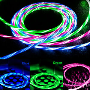 LED Flowing Light UP Charger Cable for iPhone Samsung Huawei Mobile Phones