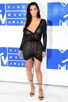 Women Black Tan Mesh Dress Kim Kardashian Slim Fit Bodycon Casual Chic Fall