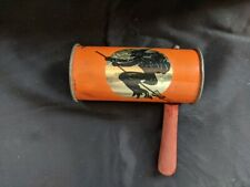 Vintage Tin Open End Ratchet Halloween Witch and Friends Noisemaker