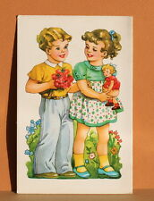 Vintage Cute Boy & Girl Shanah Tovah New Year Greeting Card Ca1960 Rosh HaShanah