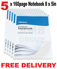 """5 x 160 Page Premium Notepad Notebook Shorthand Pad 8"""" x 5"""""""