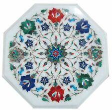 "18"" white Marble Table Top Inlay semi precious stones home decor"