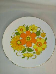 Minami Orange Floral Seventies Platter Gold Trim