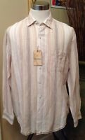 Caribbean Shirt Men's Large Brown NWT Tan Stripe Linen Cotton Long Sleeves New
